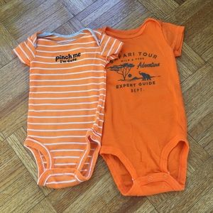 Carters Lot two onepiece unisex orange 3m 9 m baby